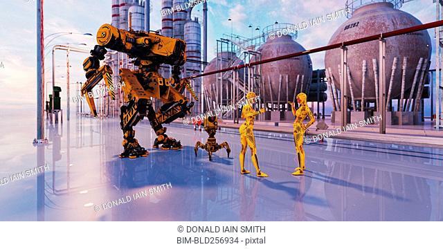 Women robots talking in futuristic city