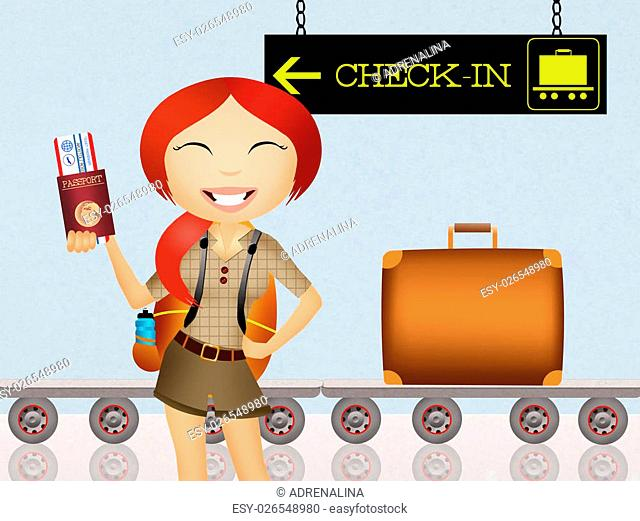 illustration of check-in in airport
