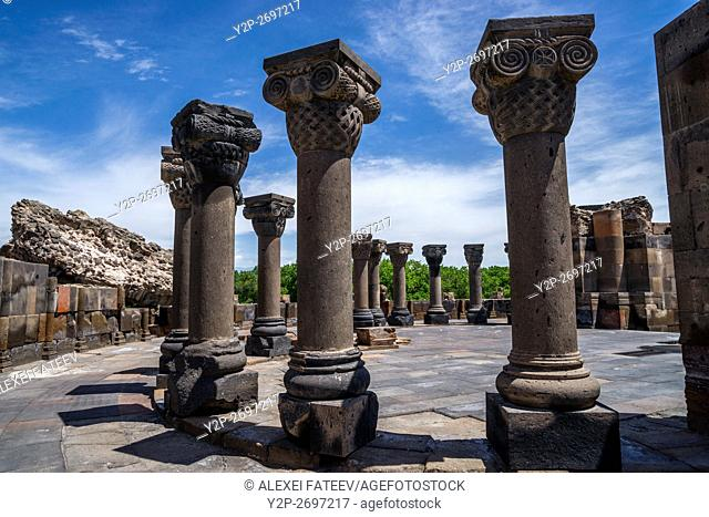 Ruins of Zvartnots cathedral (7th century) in Armenia