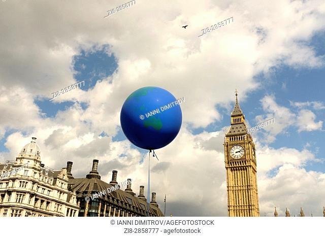 Globe shaped balloon over Westminster, London,England