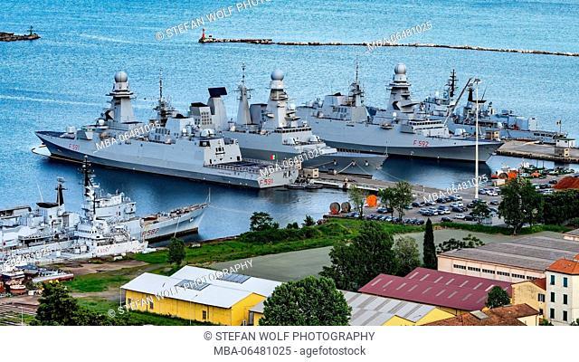 Warships in the harbour, La Spezia, Liguria, Italy