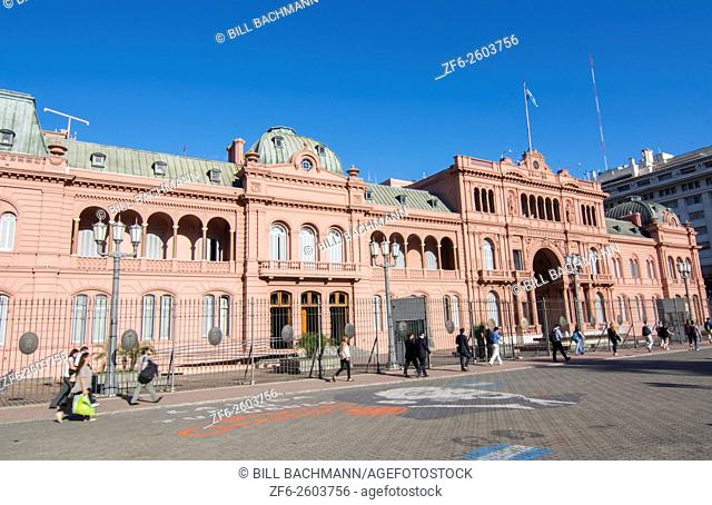 Buenos Aires Argentina Plaza de Mayo with Pink House Casa Rosada in square in city center with Argentine flag