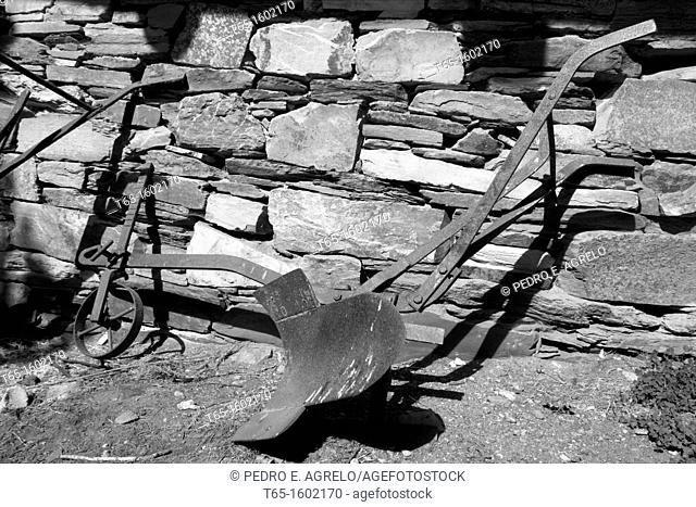 Campodola town of Quiroga in the mountain area of ??or Folgoso Courel. Old working tool to plow the fields with the help of draft animals