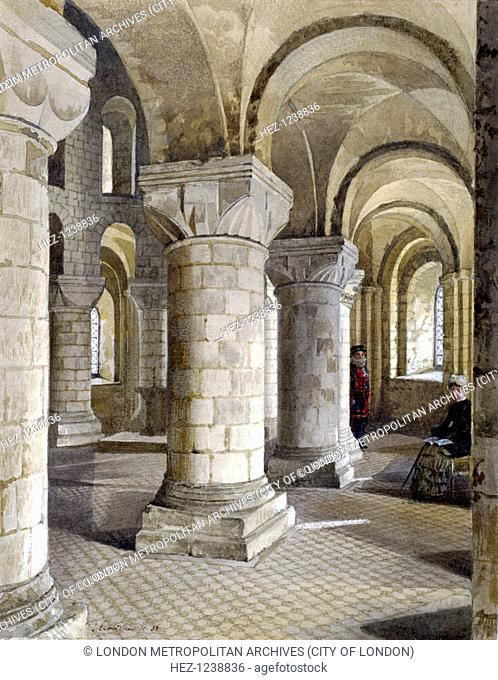 Interior view of St John's Chapel in the White Tower, Tower of London, Tower Hamlets, London, 1833; with figures including a Beefeater