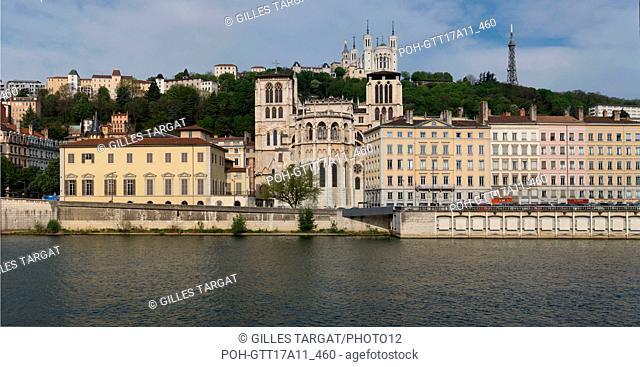 France, Lyon, Quays of the Saône River, Quai Romain Rolland, Cathédrale Saint-Jean-Baptiste, Court of Appeal de Lyon, Photo Gilles Targat
