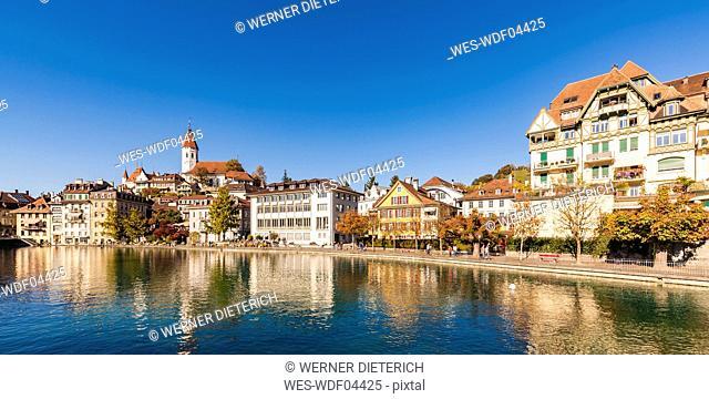 Switzerland, Canton of Bern, Thun, river Aare, old town with parish church and Aarequai