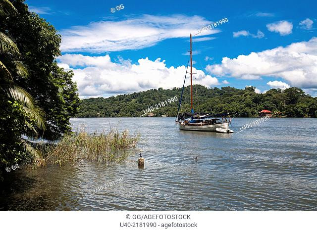 Guatemala, Rio Dulce, anchored sailboat
