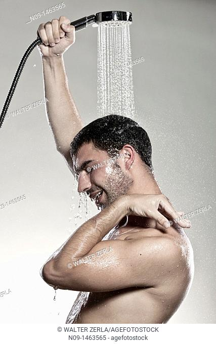 Man takes a shower