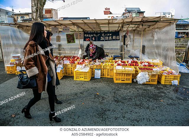 Miyagawa Asaichi Market. Takayama, Hida Region, Gifu Prefecture. Japan