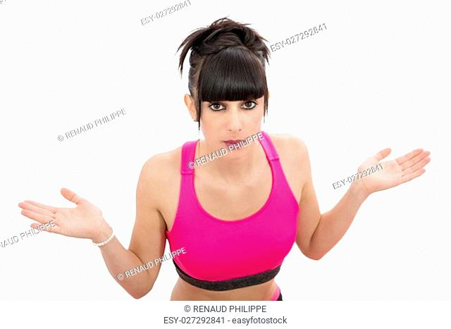 young woman in pink sportswear isolated on white background