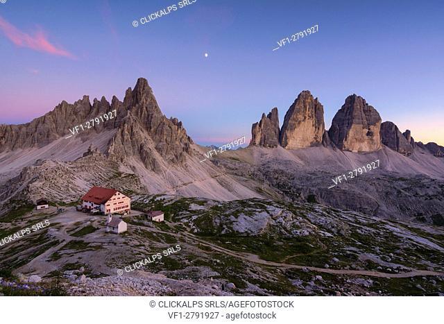 Tre Cime di Lavaredo and Mount Paterno at Sunset, Bolzano province, Trentino Alto Adige, Italy