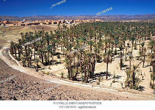 The oasis town of Alnif, southern Morocco