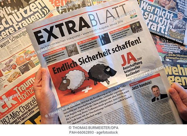 With a free 'Extrablatt' (lit. 'special edition'), the Swiss People's Party (SVP) is advertising their initiative for the eviction of criminal foreigners, Basel