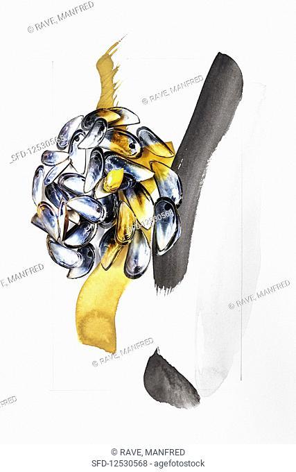 Food art: mussels (blue, gold, black)