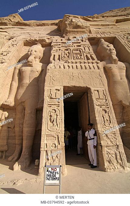 Egypt, Abu Simbel, small temple, Colossal statues, entrance, temple guards, Visitors, Africa, head Egypt, destination, destination, sight, landmarks, culture