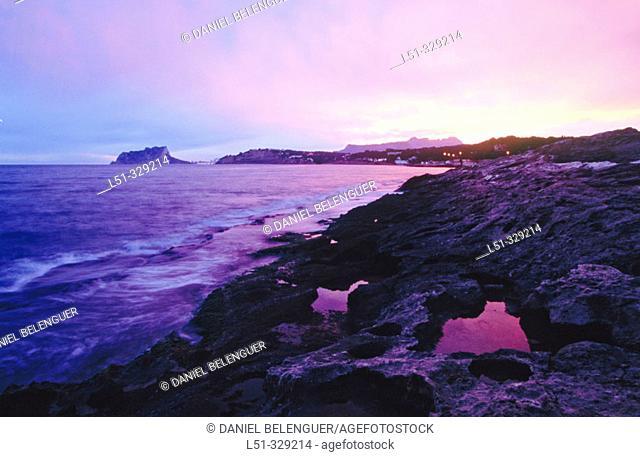 Moraira coast and Peñon de Ifach Natural Park at background. Alicante Province. Spain