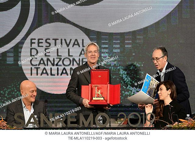 Claudio Bisio, Claudio Baglioni with the 'Amico di Sanremo' Award (Friends of Sanremo), Mayor of Sanremo Alberto Biancheri