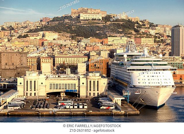 Early morning. Naples passenger liner quay. Italy