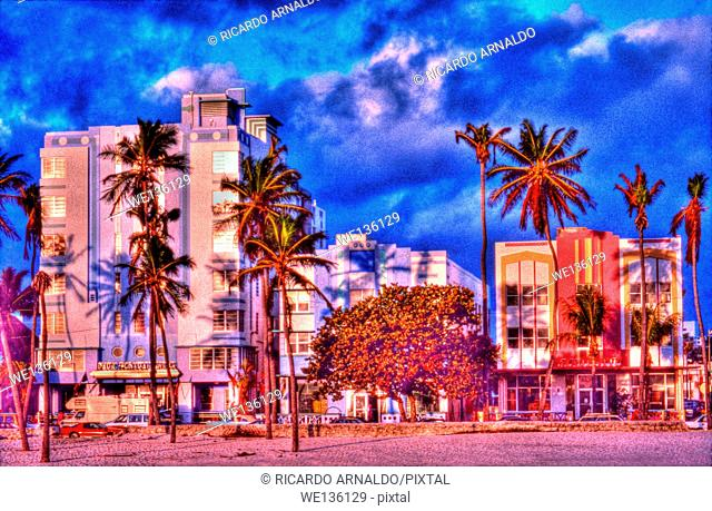 South Beach art decco buildings at sunrise