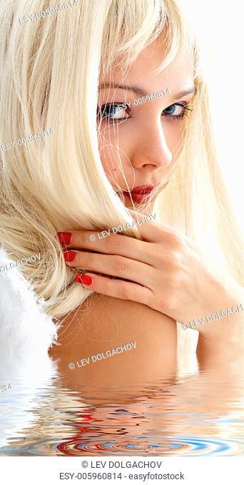 portrait of lovely angel blonde in water