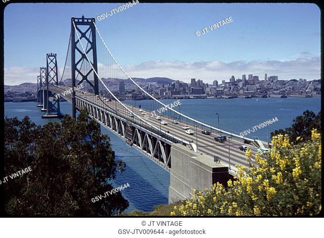 Bay Bridge, View from Yerba Buena island to San Francisco, California, USA, 1963