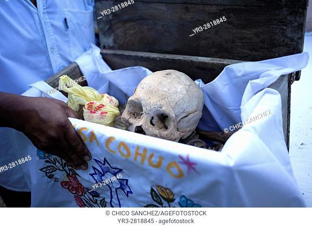Bones are displayed in the Mayan village of Pomuch, Hecelchakan, Campeche, Yucatán península, October 30, 2016, as part of Day of the Dead celebrations in...