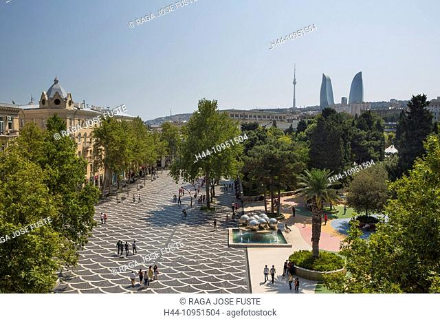 Azerbaijan, Caucasus, Eurasia, Baku, City, architecture, fountain, history, historical, skyline, square Flame Towers, Flame, towers