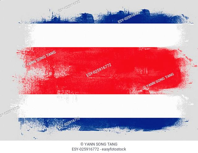 Flag of Costa Rica painted with brush on solid background