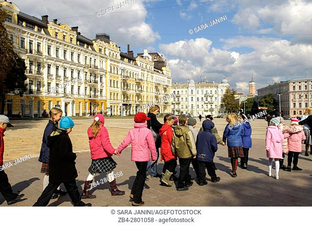 A group of students in Saint Sophia Square, Kiev, Ukraine, Eastern Europe