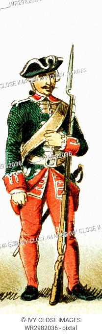 The figure represented here is a French noble from 1700 to 1750 A.D. The illustration dates to 1882