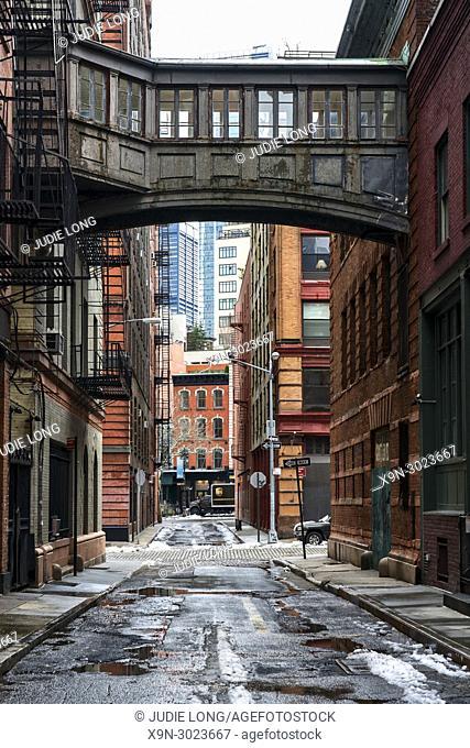 Looking at Staple Street and the Staple Street Skybridge. New York City, Manhattan, Tribeca