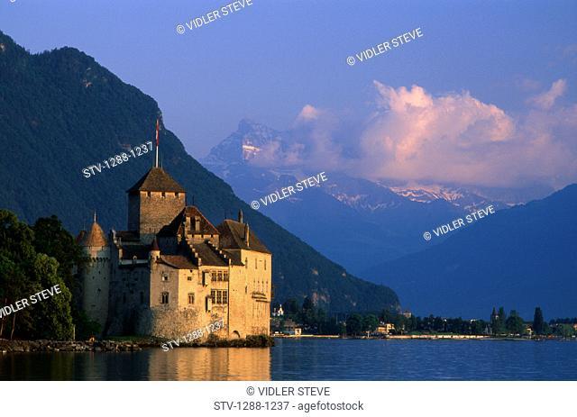 Architecture, Castle, Chateau, Chillon, Europe, Geneva, Holiday, Lake, Landmark, Montreux, Picturesque, Switzerland, Europe, Tou