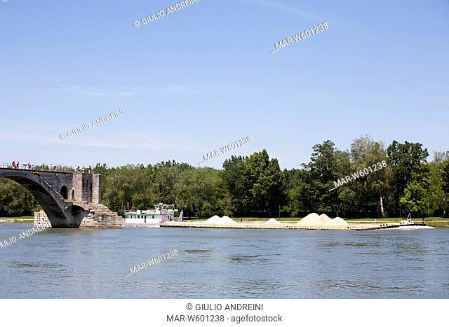 pont saint benezet and rhone river, avignon, provence, france