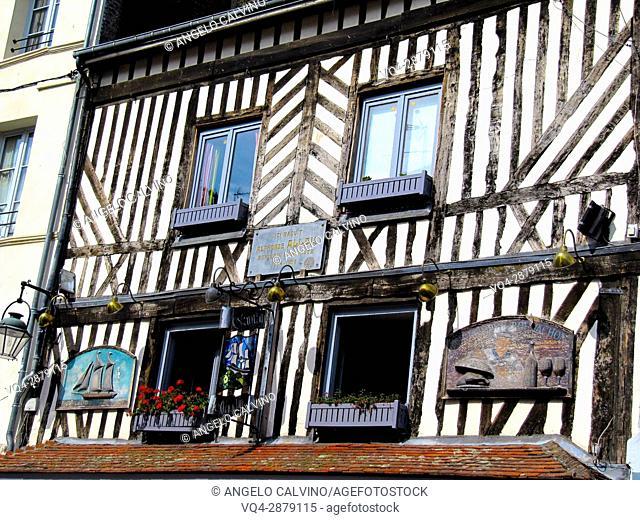 House of famous Alphonse Allais, old town Honfleur, Calvados, Normandy, France.