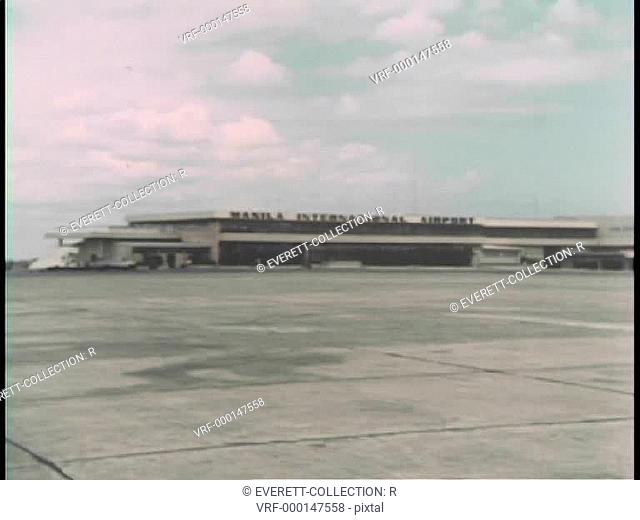 Airplane landing at Manila International Airport