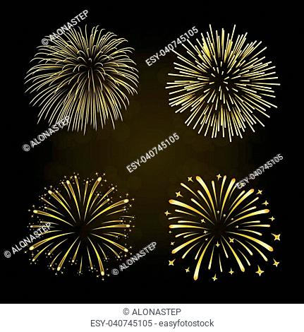 Beautiful gold fireworks set. Bright fireworks isolated black background. Light golden decoration fireworks for Christmas, New Year celebration