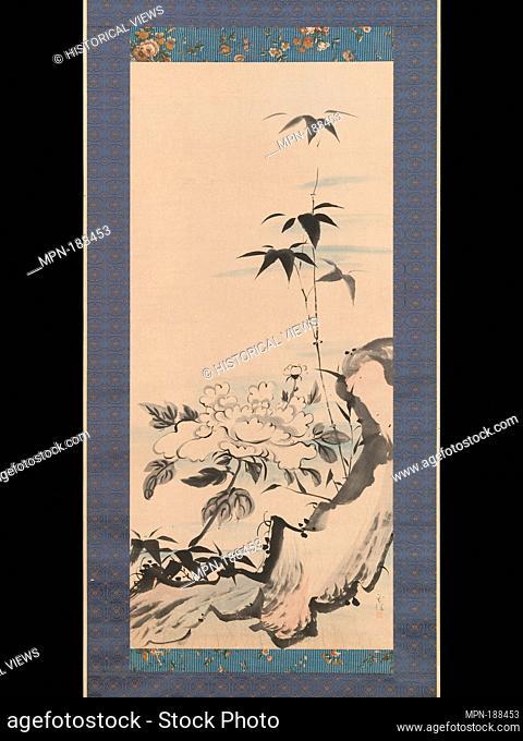 牡丹に竹図/Peony and Bamboo by a Rock. Artist: Tokuyama Gyokuran (Japanse, ca. 1728-1784); Period: Edo period (1615-1868); Date: ca