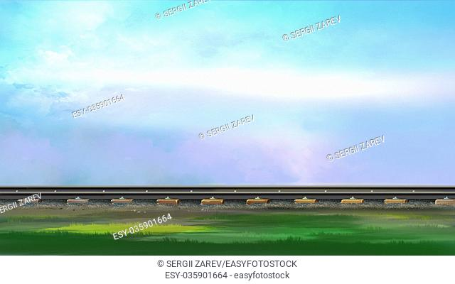 Digital painting of the railroad track