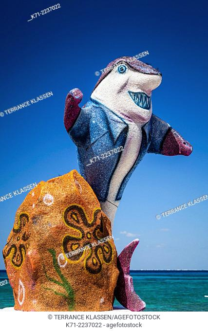 Decorative seaside sculptures along the malecon in the port of Cozumel, Mexico