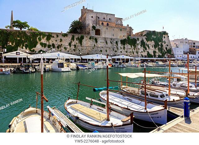 Local fishing boats in the harbour at Ciutadella, Menorca, Spain