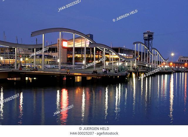 spain, Barcelona, Port Vell, Rambla de Mar walkway, dusk