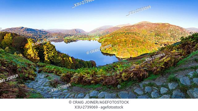 Grasmere viewed from Loughrigg Fell in the Lake District National Park. Cumbria. England
