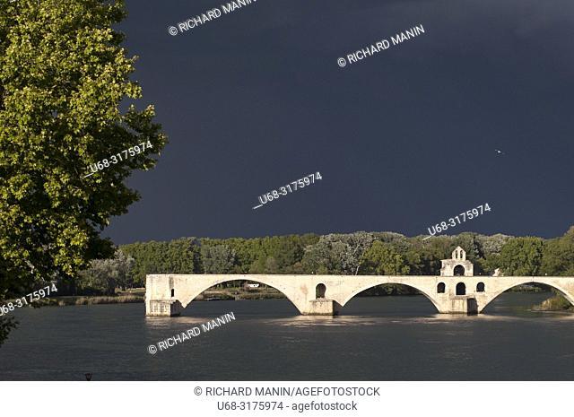 France, Vaucluse, Avignon, Saint Benezet Bridge,12th century, listed as World Heritage by UNESCO, Rhone River