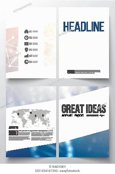 Set of business templates for brochure, magazine, flyer, booklet or annual report. DNA molecule structure on a blue background