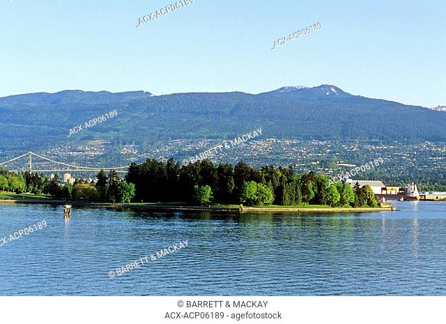 View of Stanley Park National Historic Site from downtown Vancouver, British Columbia, Canada