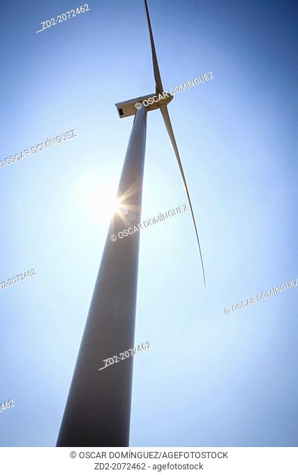Wind turbine view from below. Lleida province. Catalonia. Spain