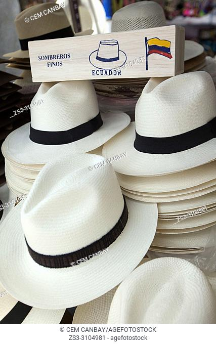 Close-up shot of the Panama hats for sale at the shop in the town center, Otavalo, Quito, Ecuador, South America