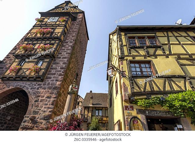 old town gate and framework, Riquewihr, Alsace, France, historical picturesque village