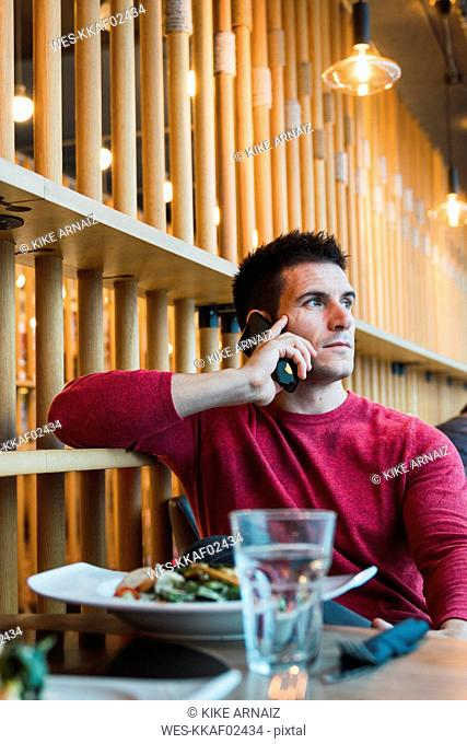 Businessman sitting in restaurant, using his smartphone