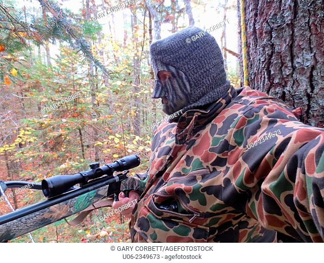 A deer hunter dressed in camo clothing hunting from a tree stand in a forest